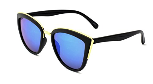 Dollhouse Women's Cateye Sunglasses, Opaque Shiny Black Frame with Metal Bridge and Brow Detail, Faux Blue Revo Lens, - Dollhouse Sunglasses