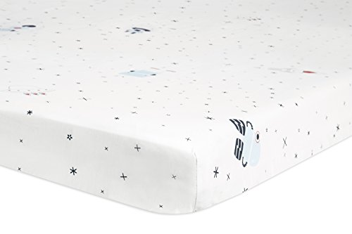 Babyletto Fitted Mini Crib Sheet, Galaxy Floating Robots
