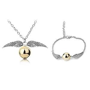 ysister Collier Harry Potter Vif d'or Snitch Or Bracelet pour Harry Potter Fans Collection De Cadeaux ou Décorations…