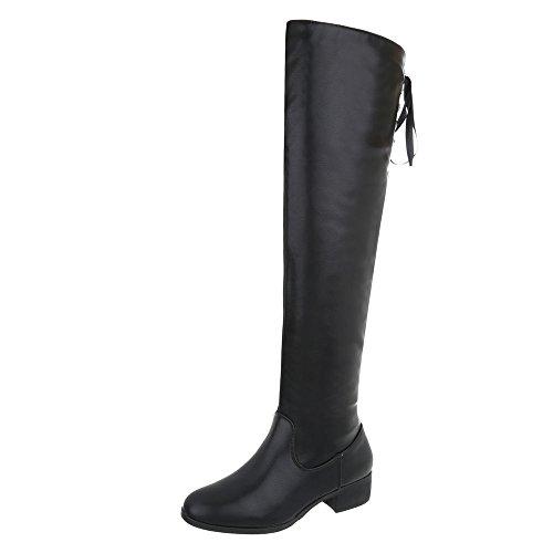 Ital-Design Overknees Damenschuhe Overknees Blockabsatz Blockabsatz Reißverschluss Stiefel Schwarz A-25-1