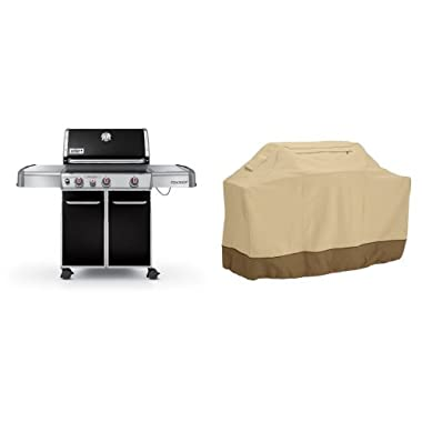 Weber Genesis 6531001 E-330 637-Square-Inch 38,000-BTU Liquid-Propane Gas Grill, Black with Classic Accessories Cover