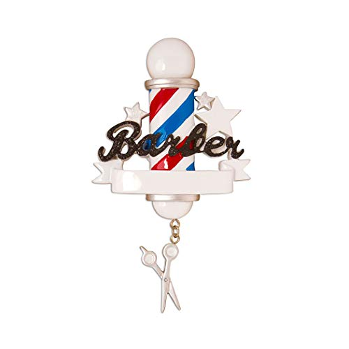 Personalized Barber Christmas Tree Ornament 2019 - Red White Spiral Stripe Pole Flag Man Hair Stylist Scissor Comb Salon-ist Coiffeur Male Dresser Friend Coworker Boss Gift Year - Free Customization