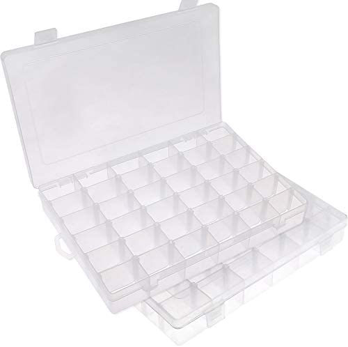 Plastic Storage Box Divider Organizer Rings Earring Container 12 x 10 x 4cm