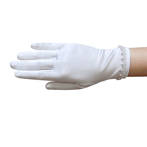 ZaZa Bridal Girl's Satin Gloves with Faux Pearl Beads Accent Trim Around the Wrist- Girl's Size Medium ()