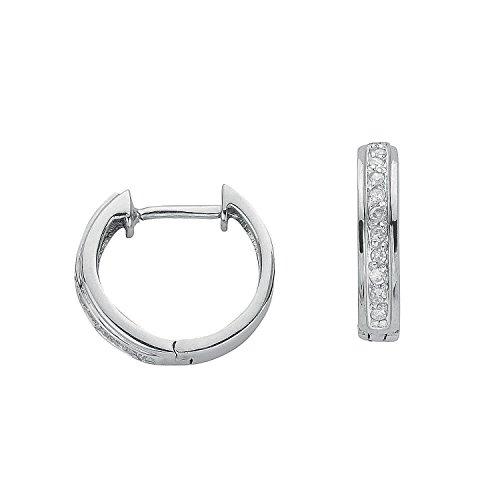 Jareeya-Boucles d'Oreilles Créoles Diamant, Or blanc 9ct avec diamants 0,10ct