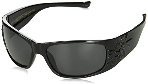 Black Flys Sonic 2 Floating Polarized Shield Sunglasses, shiny black, 65 mm