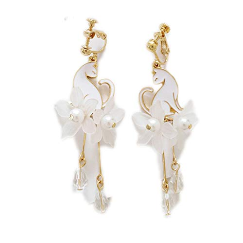 Women Stud Earrings Acrylic Black Cat Earrings Female Popular White Petals Long Tassels Cat Pearl Earrings for Women,White Ear Clip