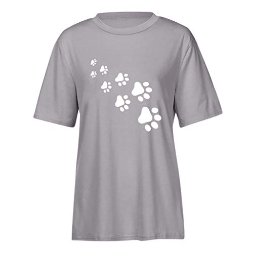 Willow S Womens 2019 Fashion Casual Sport Summer Cute Cat Print Short Sleeve Loose T-Shirts Tops Blouse Gray