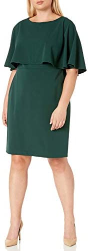 Calvin Klein Womens Capelet Plus Size Sheath Dress