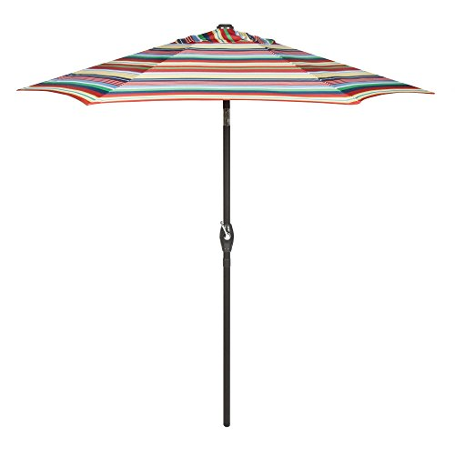 7.5 Foot Crank and Tilt Market Umbrella (Red/Blue/Green/Yellow Striped) ()