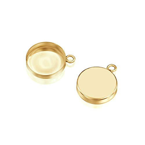 (14k Gold-Filled Round Setting with 1 Loop 12 mm Bezel Cup Findings for Pendants Charms Earrings, 2 Pcs)