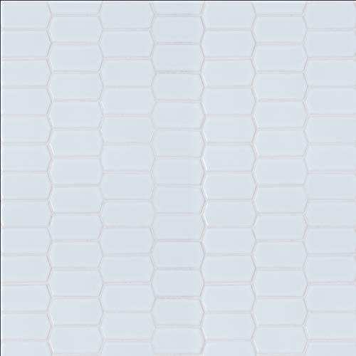 Speciality Patterns - Retro Picket Bianco Glossy Pattern Porcelain Mosaic 13.35 SFT/Case (15 Pcs)