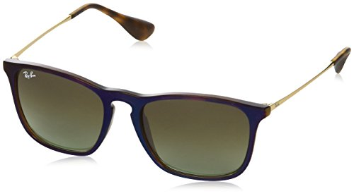 Ray-Ban Men's Chris Square Sunglasses, Trasparent Brown SP Blu, 54 - Ray 4187 Ban