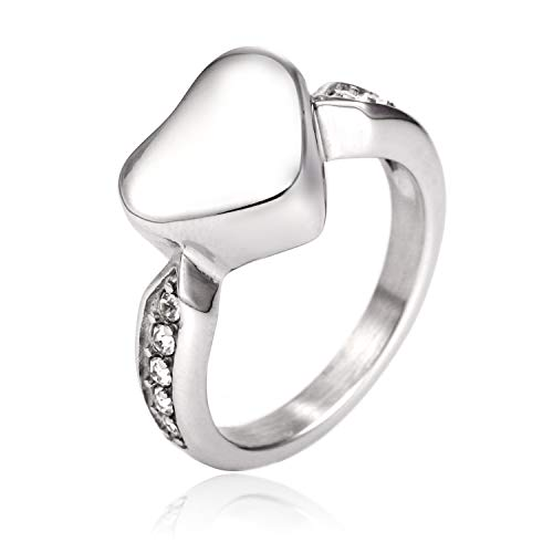 Muyuer Heart Cremation Urn Ring Hold Loved Ones Ashes for Funeral Keepsake Gift Memorial Jewelry (Silver, 8)