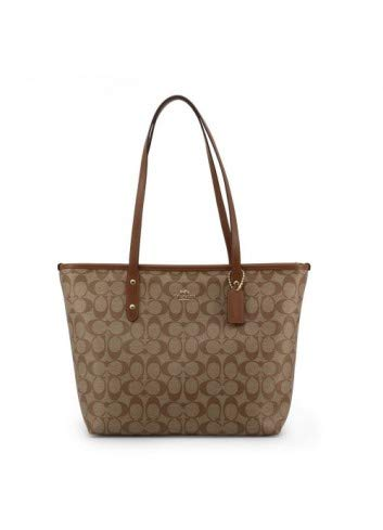Coach Signature City Zip Tote IM/Khaki/Saddle 2