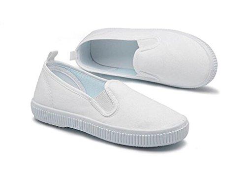 Bumud Kids Boy's Girl's Slip on White Canvas Shoe Uniform Sneaker(Toddler/Little Kid) (8 M US Toddler, White) by Bumud (Image #2)