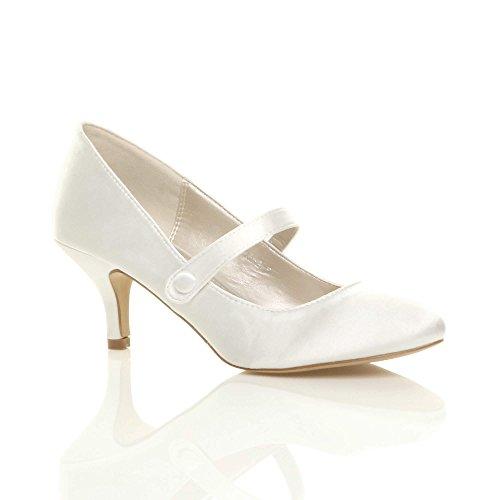 Zapatos de tacón medio para mujeres, cierre con correa, color negro, talla 39