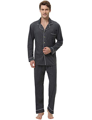 Aiboria Men Cotton Pajama Set Classic Button Down Long Sleeve Tops & Pant Soft Nightwear Lounge Gray