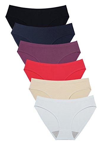 Wealurre Breathable Underwear Women Seamless Bikini Nylon Spandex Mesh Panties(Red,S)