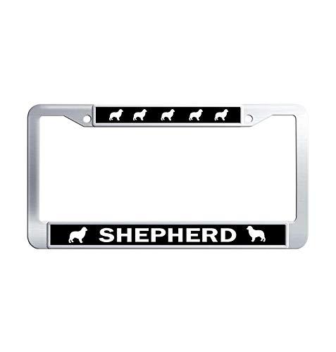 Toanovelty Australian Shepherd Metal Car tag Frame, Waterproof Stainless Steel Car License Plate Holder 6' x 12' in ()