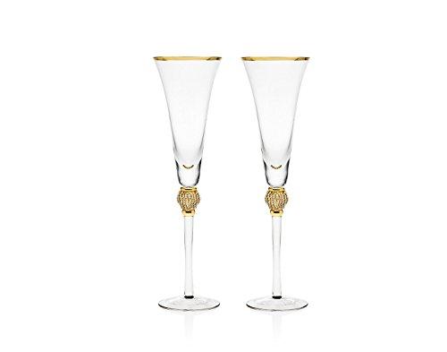 Godinger Gold Diamond Pave Flute Glasses, Set of 2