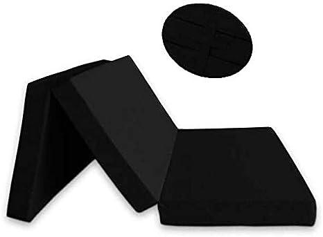 Ventadecolchones - Colchón Plegable con Cierre y Asa 120cm x 190cm x 10cm con Espuma en Densidad 25kg/m3 (extrafirme) y Funda en loneta Premium Negro