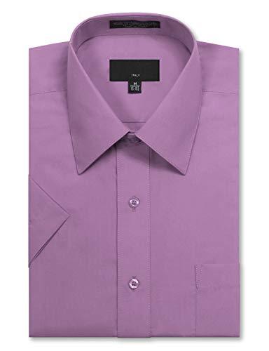 (JD Apparel Men's Regular Fit Short Sleeve Dress Shirts 18-18.5N 2XL Lilac)