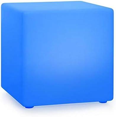 blumfeldt Shinecube XL Lámpara de jardín - iluminación LED en 16 Colores, tamaño: 40 x 40 x 40 cm, luz estroboscópica, Flash, Resistente al Agua, Mando a Distancia, batería, Material: PE, Blanco