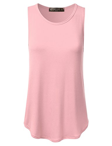 DRESSIS Womens Sleeveless Round Neck Loose Fit Flared Tank Top ROSE - Mix Pink Color