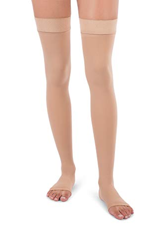 Venous Collection - Jomi Compression Thigh High Collection, 30-40mmHg Surgical Weight Open Toe 341 (Medium, Beige)