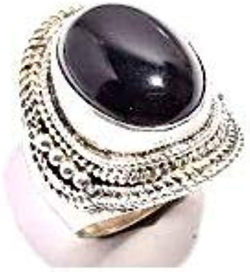 mughal gems & jewellery Anillo de Plata esterlina 925 Anillo de joyería Fina de Piedras Preciosas de ónix Negro Natural para Mujeres y niñas (Tamaño 7 U.S)