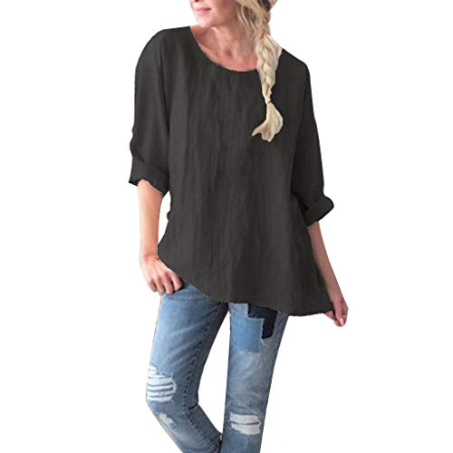 (Women's Sexy Tops 2019,Women's Round Collar Plain Colour Loose Size Cotton and Hemp Jacket Blouse Tops Under 10 Dollars Black)