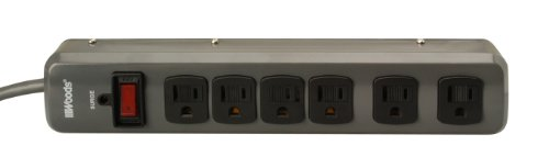 Woods 41553 6-Outlet 750-Joule Metal Surge Protector with 3-Foot Cord (Medium Grey)