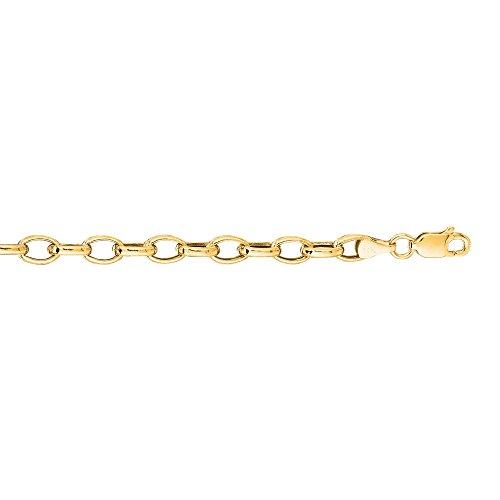 Or jaune 14 carats ovale 7 X 4 mm-JewelryWeb Bracelet chaîne Rolo
