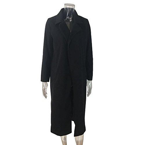 Women Coat Clothes JSPOYOU Solid Color Lapel Pocket Woolen Winter Long Parka Jacket Cardigan Overcoat Outwear by JSPOYOU (Image #3)