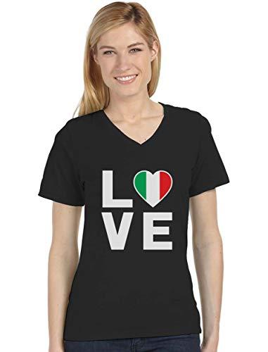 I Love Italy - Italian Patriot Flag of Italy Cool V-Neck Women T-Shirt X-Large Black