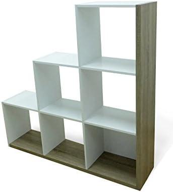 Stairs Escaleras estantería, aglomerado, Roble/Blanco, 127,5 x 29,2 x 125.6 cm: Amazon.es: Hogar