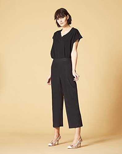MANILA GRACE Pantalon jambe large en pur coton avec élastique à la taille mod. P565CU Noir