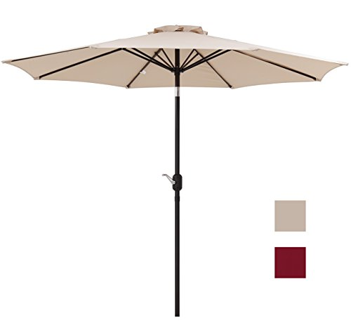 Finnhomy Canopy Table Patio Umbrella Sturdy 8 Ribs 9Ft Strong Aluminum Pole w Wind Vent Push Button Crank n Tile UV Resistant Heavy 250GSM Fabric Outdoor Garden Sun Shade Market Beach Deck Pool Beige (Strong Patio Umbrella Wind)