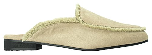 AnnaKastle Womens Raw-Edge Trimmed Backless Loafer Flats Fashion Slippers Beige WrV6jAX