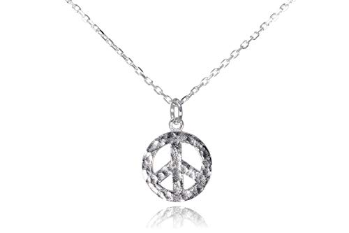 (Dote Peace Sign Pendant Dainty Genuine .925 Sterling Silver Hammered Necklace 16-18