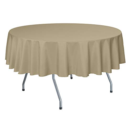 Ultimate Textile -2 Pack- 72-Inch Round Polyester Linen Tablecloth, Camel Light Brown
