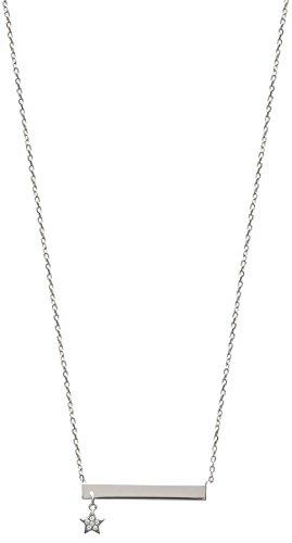 Collier Chaine en Argent 925/000 Rhodié - Pendentif Plaque et Etoile Zirconium