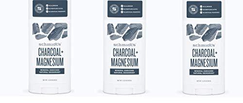 Schmidts Deodorant Charcoal + Magnesium Deodorant 3.25 oz (Pack of 3)