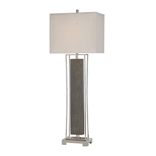 My Swanky Home Tall Open Faux Shagreen Leather Gray Buffet Lamp | Geometric Silver Elegant