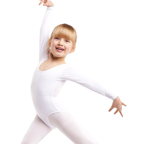 Girls' Basic Long Sleeve Leotard For Ballet, Dance And Gymnastics (WHITE, (Long Sleeve White Leotard Girls Costumes)