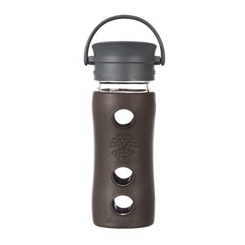 Lifefactory 12-Ounce BPA-Free Glass Coffee and Tea Travel Mug with Café Cap and Insulating Sleeve, Espresso ()