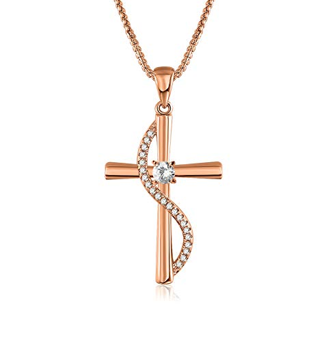 Faith Love Heart Hope Charm - Angelady God in My Heart Faith Hope Love Infinity Pendant Necklace Jewelry Valentine Birthday Gifts for Women,Crystals from Swarovski (Rose Gold Cross Necklace2, Gold-Plated-Brass)
