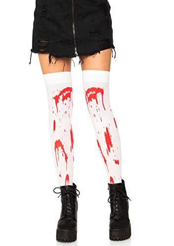 Leg Avenue Women's Thigh Highs, White/Red, One ()