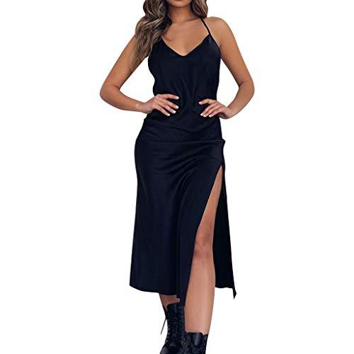 [해외]패션 여성 여름 V 넥 고삐 등이 없는 오픈 포크 비치 캐주얼 스트랩 드레스 / Fashion Women Summer V-Neck Halter Backless Open Fork Beach Casual Strap Dress